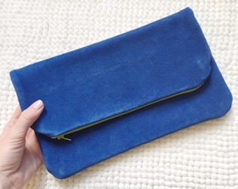 Leather Foldover Clutch / Handmade