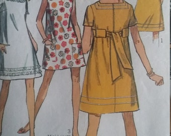 Vintage Simplicity 7659 Sewing Pattern Size 13 JP Jiffy Dress in Two Lengths Short sleeve or Sleeveless