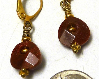 Faceted Goldstone and Gold Filled Drop Earrings