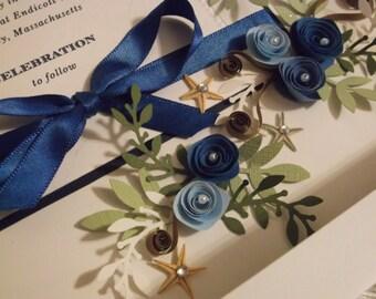 Nautical Theme / Framed Wedding Invitation / Wedding Gift / Wedding Keepsake / Wedding Momento / Royal Blue Wedding / Starfish Wedding