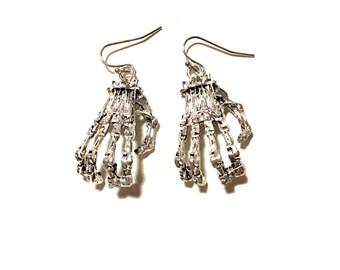 Skeleton hand earrings goth gothic bones Halloween scary death burial vampire evil