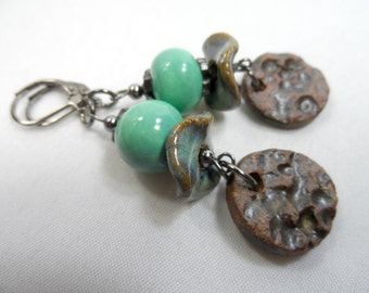 Green Okawa African Beaded Earrings with Handmade Ceramic Tabs in Gunmetal - 2.5 inch length