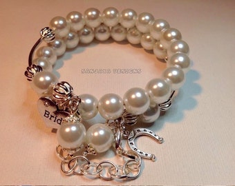 Ivory Pearl Double Layered Bridal Bracelet .