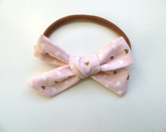 Hand Tied Hair Bows/One Size Fits All/Valentine's Day Bows/Pink Bows/Gold Hearts/Little Girl's Bows