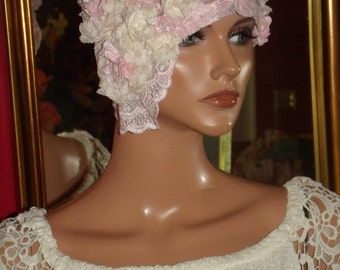 Flapper Hat Cloche  20 Theme Personalized  Pink Lace Headdress Millinery ArtWork