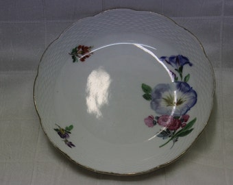 Vintage 1920's Era Meissen Porcelain Floral-Themed Bowl