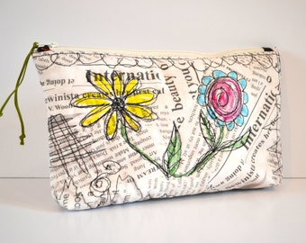 Cosmetic Bag  Quilted Grunge Makeup Bag  Newsprint  Wild Child Stitch  Art Bag  Pencil Bag  Graffiti Bag  Modern Art Accessory