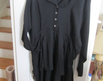 SteamPunk/Bohemian/Gypsy/Gothic/Stevie Nick's Jeannie Engelhardt Long Black Peplum Dress Vintage Size Large