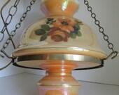 SALE Hanging Lamp Lighting  Floral Glass Shade  Hanging Swag Light Fixtures Hanging Lamp Chandelier Country Lighting Milk Glass Lamp Globe