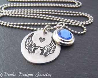 Birthstone memorial jewelry child loss memorial baby necklace
