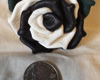 Black & White Deerskin Leather Rose Pin