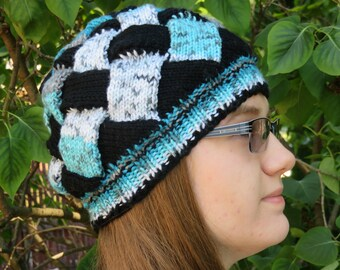 Hand-made Knit Entrelac Design Hat Black and Blue