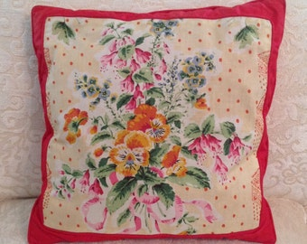 1 of 2 Polished cotton pillow down filled sofa throw toss square decorative floral red yellow cottage retro chic sunroom home decor