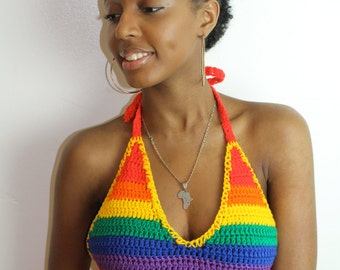 Rainbow crop top available in any color and size A,B,C,D,DD cup
