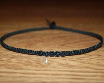 Dark Iridescent Faceted Glass Beads Black Hemp Choker Necklace for Her - Womens Choker Tween Teen Girl Gifts for Girlfriend Jewelry for Her