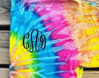 monogram tshirt, personalized shirt, monogrammed shirt, tye dye shirt