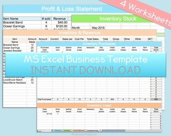 Business Profit Loss Inventory Expense Revenue MS Microsoft Excel Spreadsheet Template Organizer Instant Download Editable Fillable