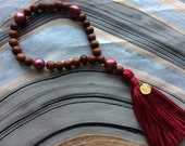 Wood and Pink Freshwater Pearl Hand Mala Prayer Beads with Cotton Tassel and Gold Plated Lotus Charm