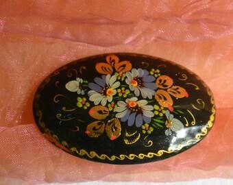 48 HR SALE! Painted Wood Brooch - Russian, Multi Floral, Black, Artist Signed - Vintage - Stunning!