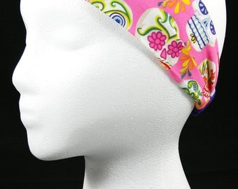 Pink Day of the Dead Sugar Skulls headwrap/headband (Handmade in the United States)