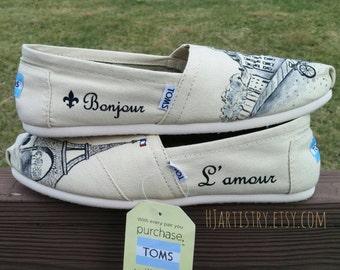 Paris Toms. Bonjour/L'amour Wording. Parisian Shoes