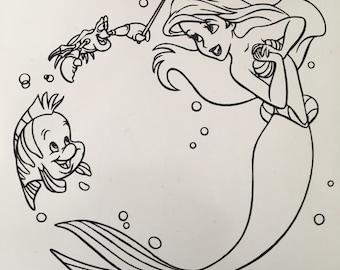 Ariel, Flounder, and Sebastian Circlular Vinyl Decal