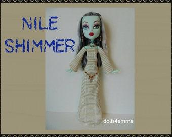 "SALE = Monster High 17"" Doll Clothes - Egypt Dress + Belt + Jewelry - Handmade custom Egyptian fashion by dolls4emma"