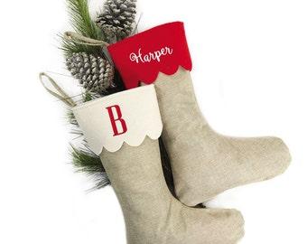 Monogram Christmas Stocking, Rustic Christmas Stocking, Personalized Christmas Stocking, Red Christmas Stocking, Burlap Christmas Stocking