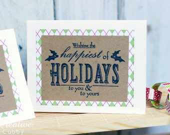 Hand Stamped Happiest of Holidays Christmas Card (set of 10)
