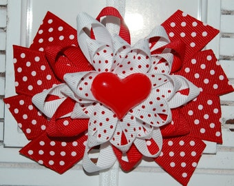 Valentine's Day Red Heart Bow