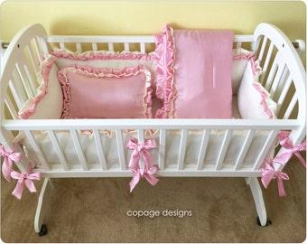 Ivory and Pink Satin Baby Cradle Bedding Set Of 4: Bumper Pad, Baby Blanket, Fitted Sheet and Accent Pillow / Made-To-Order