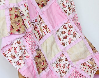 Pink and Brown Sock Monkey girl's rag crib quilt