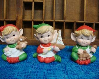 Vintage  Set of 3 Homco Porcelain Christmas Elves/Pixies