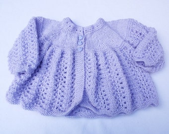 Sparkly lilac hand knitted baby cardigan 6 - 12 months matinee coat baby clothes knitwear