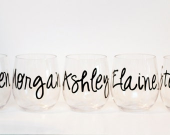 Personalized wine glasses // acrylic wine glasses // Girls Getaway // Bridesmaid gifts // Bachelorette party favors // destination wedding