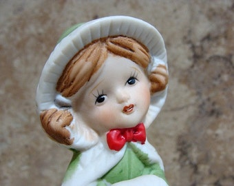 1978 Merri-Bells Jasco Christmas Girl With White Kitten At Skirt Figurine Bell Form