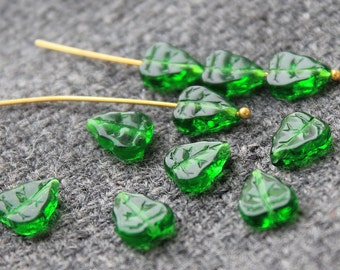 Czech Glass Leaf Beads - 25Pc (8х10mm) Czech Glass Beads, Czech Glass, Green Leaf Beads, Green Leaves, Pressed Glass Leaf, Czech Beads