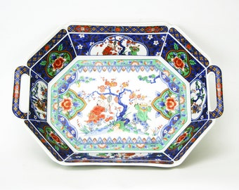 Japanese Octagonal Dish with Green, Orange, and Blue Floral Design