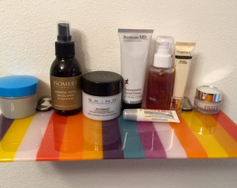 """The """"Lotions & Potions Addict"""" Striped Multi-Color Fused Glass Floating Shelf"""