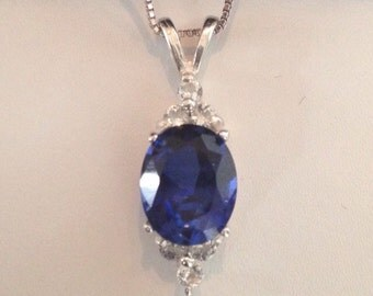 """Gorgeous Blue & White Sapphire Sterling Silver Pendant Necklace Sapphire Septmeber Bride Wife Mom Gift Trending Jewelry 14kt Gold 18"""""""