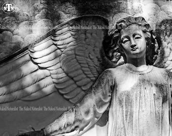 Angel Statue, Bonaventure Cemetery (Savannah, Georgia), Oddity Photography, Memorial, Guardian Angel, Black and White Photography