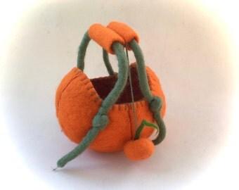 Pumpkin Basket. Handfelted .Felted bag,Bowl,gevilt,Filz,Waldorf.Wet felted.