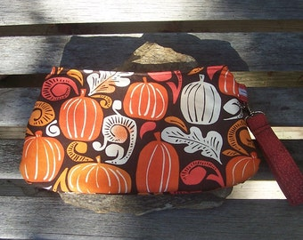 Autumn Pumpkins Wristlet - Clutch Handbag Purse - Fall Harvest Leaves  - Swoon Coraline