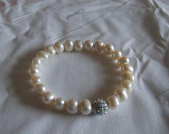 Freshwater Pearl and Crystal Rhinestone Bracelet