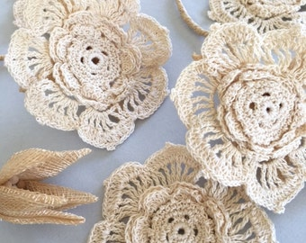 "Vintage Crochet Flower, Cotton Crochet Applique, 3x3"", 1Pcs"