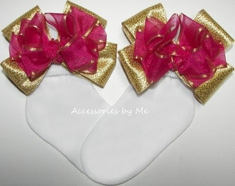 Pageant Socks, Fuchsia Pink Gold Bows, Organza Metallic Satin Trim Bow, Baby Girls Toddler Accessories, Flower Girl Party Birthday Accessory