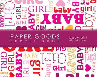 Baby Girl Digital Paper - Baby Girl Scrapbook Paper - Digital Paper - Baby Digital Paper - Scrapbook Paper - Digital Paper Pack