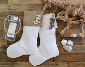 Beach Stocking Set - Linen Look Stockings - Set of 2 -Neutral Stockings, Monogrammed Stockings, Beach Stockings