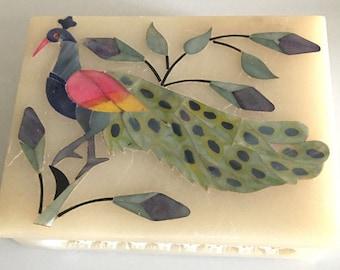 Bird Trinket Box Soap Dish- Square Container Soap Stone Collectible - Bathroom Decor-India