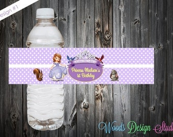 Sofia the First // Custom Water Bottle Labels // Bottle Wraps // Water Resistant // Personalized // Printed & Shipped